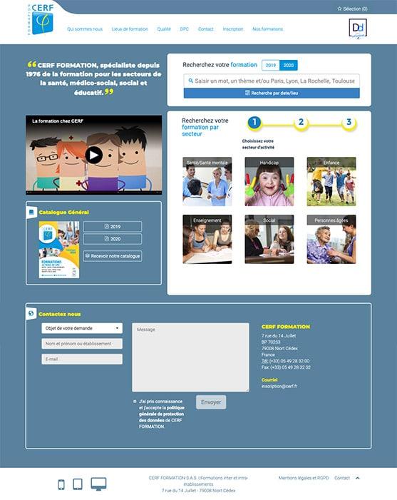 Site Cerf Formation réalisé avec Wordpress