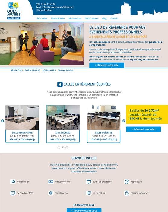 Site web Espace Ouest affaires réalisé avec Wordpress