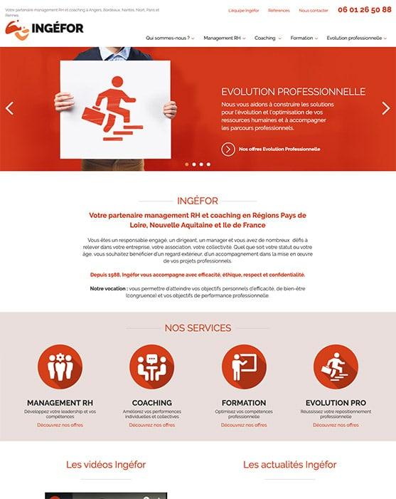 Site web Ingéfor réalisé avec Wordpress
