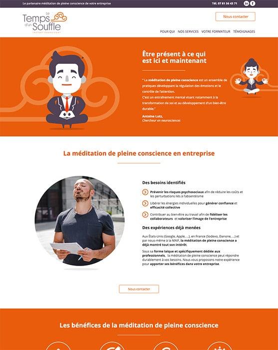 Site web Le temps d'un Souffle réalisé avec Wordpress