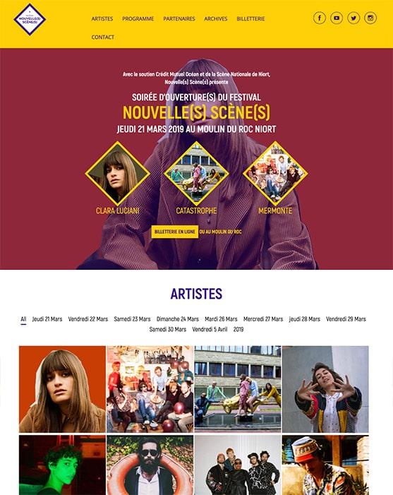 Site web Nouvelle(s) Scène(s) réalisé avec Wordpress